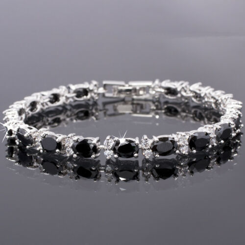 Thanksgiving Sarotta Jewelry Oval Noir Onyx Blanc Plaqué Or Tennis Bracelet