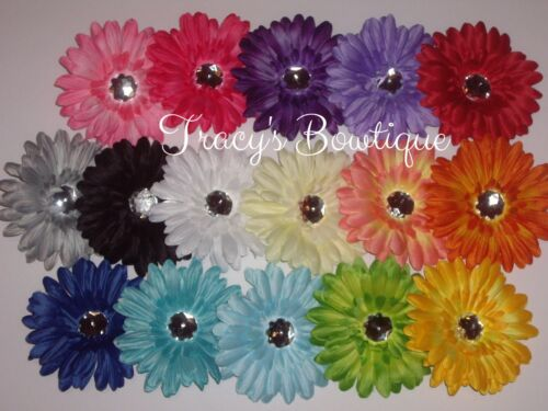 "1 Dozen 4/"" Gerbera Daisy Flower Hair Clips for Interchangeable Headbands /& Hats"