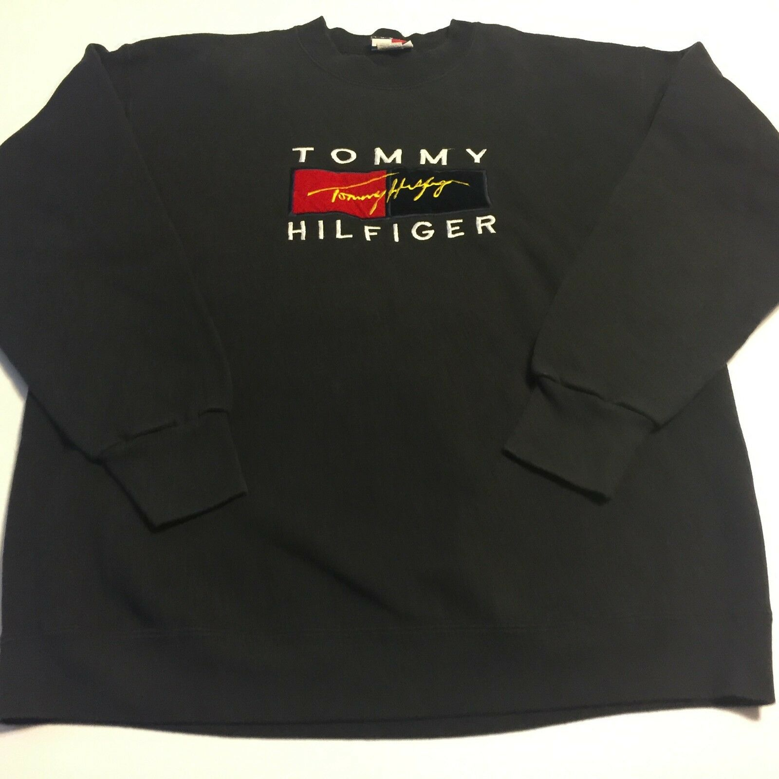 Vtg 90s Tommy Hilfiger  Herren Large Navy Spell Out Sweatshirt Made In USA