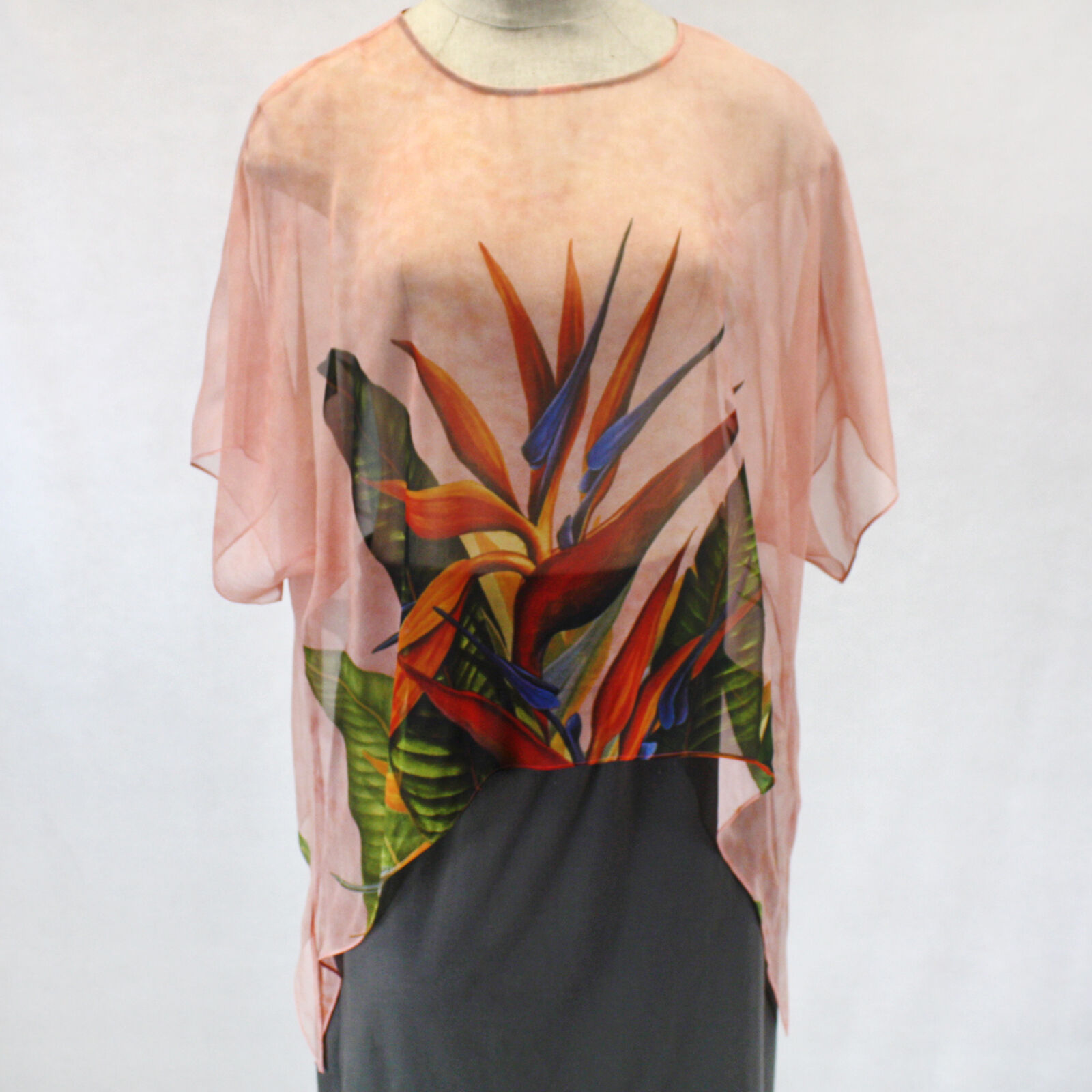 NEW NWT Cocoon House Coral Bird of Paradise Art 100% Silk Pointed Top Large XL