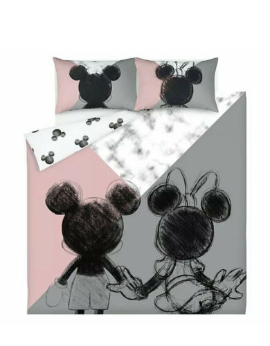 Disney Mickey Mouse And Minnie Mouse Duvet Cover DOUBLE Pink Grey Marble Effect