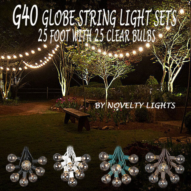 25 Foot G40 Outdoor Globe Patio String Lights - Set of 25 G40 Clear Bulbs