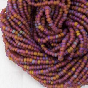 11//0 Hanks Czech Matte Topaz AB Glass Seed Beads