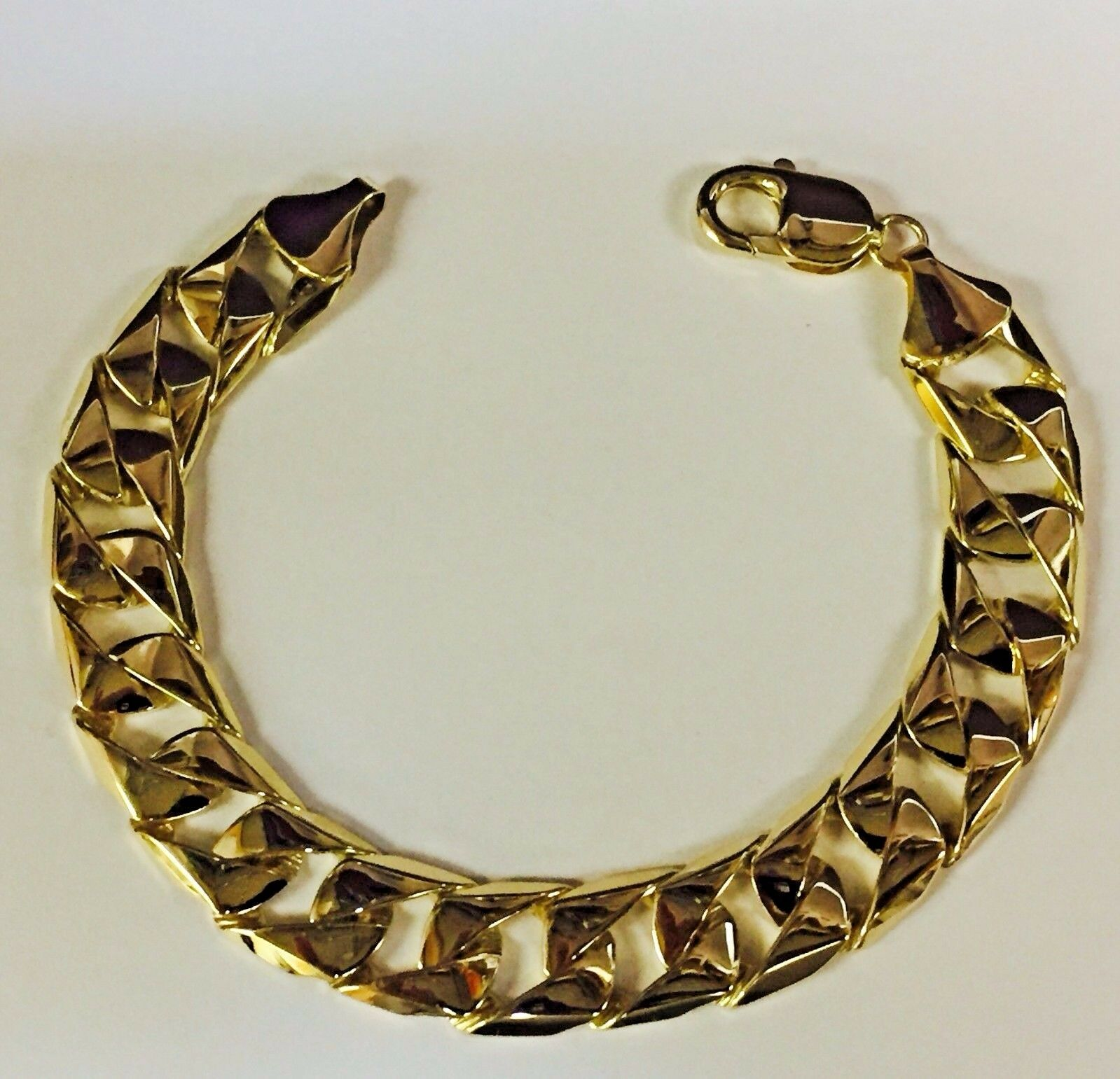 14kt Solid Yellow gold Handmade Curb Link Mens Bracelet 9  47 Grams 14MM