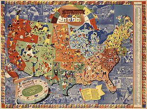 Vintage Albert Richard US Football Map College Pros Vintage Wall Art ...