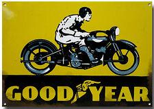 GOODYEAR TYRES MOTORCYCLE METAL SIGN.GARAGE METAL SIGN.WORKSHOP SIGN.yellow