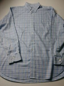 Brooks-Brothers-Country-Club-Mens-Shirt-Size-L-Blue-Check-Long-Sleeve-Button-Up