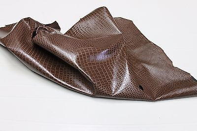Lambskin leather skin skins hide hides RUST BROWN CROCODILE EMBOSSED 4sqf