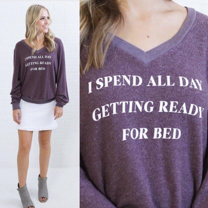 NWT Wildfox Sweatshirt Getting Ready For Bed Size Medium Purple