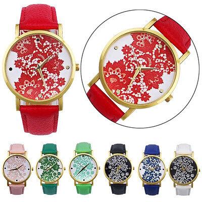 Luxury Women Dress Watches Round Lace Printed Leather Analog Quartz Wristwatches