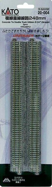 """Kato 20-004 N Unitrack 9 3/4"""" Straight Dbl Track 2pcs"""