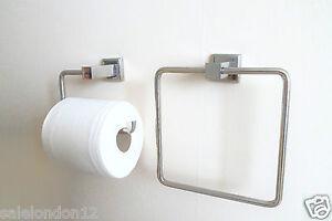 Acciaio inox design quadrato reggirotolo toilet telo anello