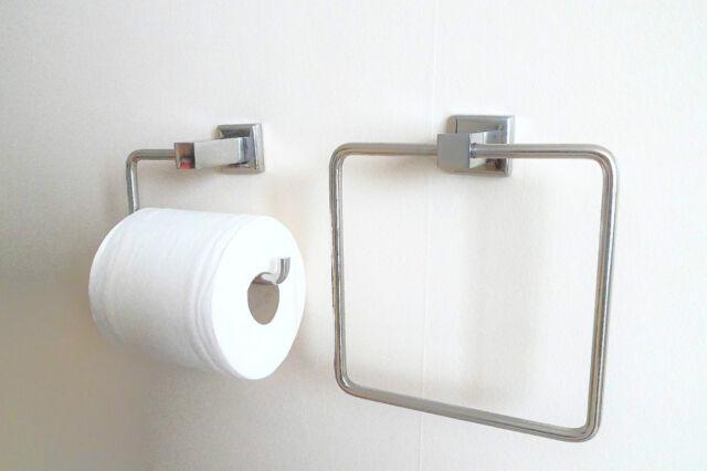 Stainless Steel Designer Square Toilet Roll Holder Towel Ring