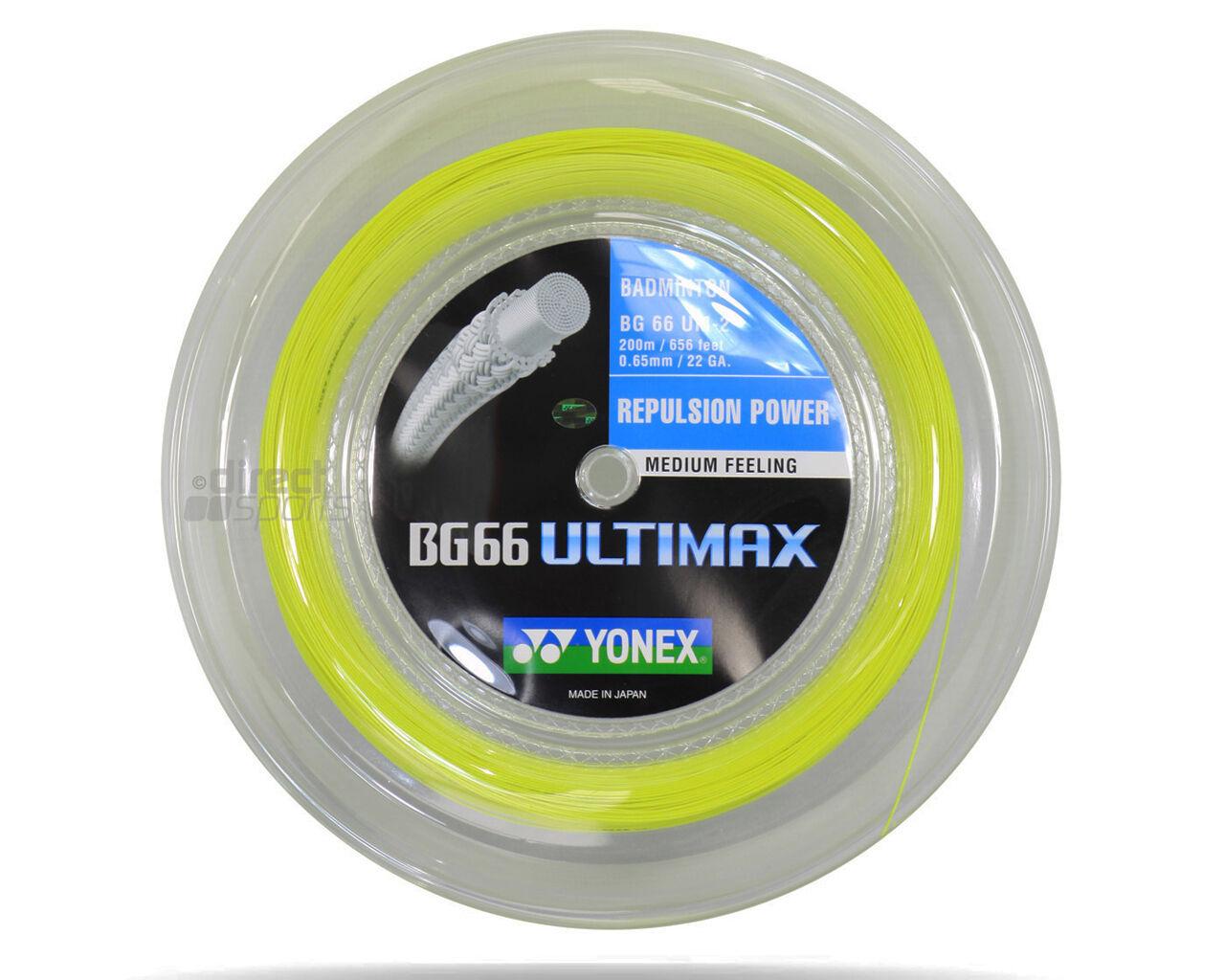 Genuine Yonex BG66 Ultimax Badminton String BG 66 - 200m Reel - Yellow