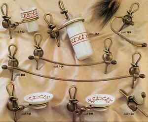 Serie set kit accessori bagno ivonne nodo ottone bronzo - Accessori bagno classico ...