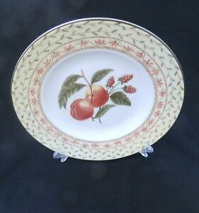 Johnson-Bros-Fruit-Sampler-Luncheon-Plate-A14051-Made-in-England-Pink-Gray