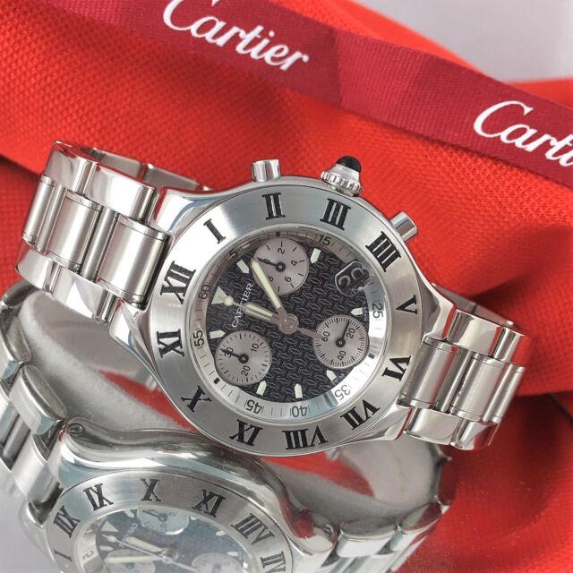CARTIER Must 21 Chronoscaph 2424 Chronograph Quartz Date Watch W10172T2