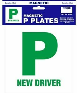 2 Magnetic passed pass Green P driver plate plates for Newly Passed Drivers