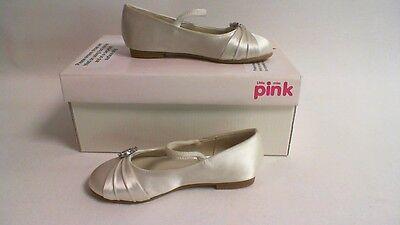 Pink by Paradox London Para Dama De Honor Zapatos-Blanco-Snow-EU 24 niños UK 7 #40L98