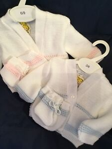 Spanish Baby Knitted Cardigan Pram Set White Blue Newborn /& 0-3 Mths Boys Girls