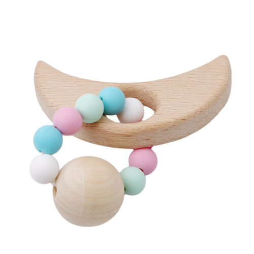 Baby Teether Safe Wood Silicone Animal Infant Teething Ring Bracelet Toy Natural