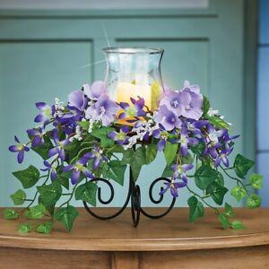 En Cascada Púrpura Floral Cristal Huracán Portavelas Semana Santa de Mesa Centro