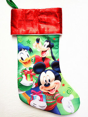 """New Disney Mickey Mouse & Friends 16.5"""" Christmas Stocking With Fur Cuff"""