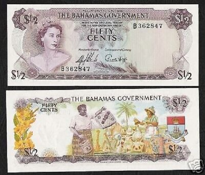 Humble Bahamas 1/2 Half Dollar P17 1965 Queen Ship Unc Money Bill Caribbean Bank Note Perfect In Workmanship Paper Money: World Bahamas