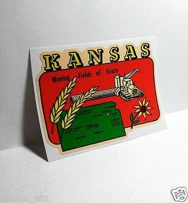 KANSAS Grain Fields Vintage Style Travel Decal, Vinyl Sticker, luggage label
