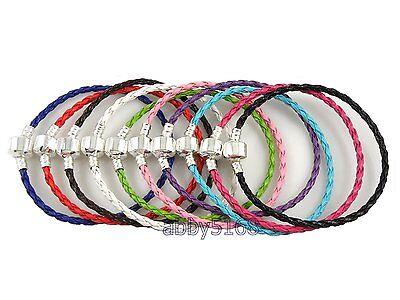 Wholesale Mix Braid Leather Charm Bracelets Fit European Bead . Sizes Choose L07