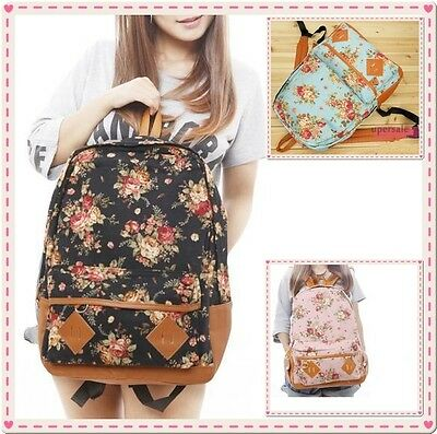 Women Fashion Vintage Cute Flower School Shoulder Book Campus Bag Backpack