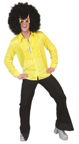 Rüschenhemd messieurs jaune taille 48//50-56//58 volants chemise 70-er Hippie mardi gras