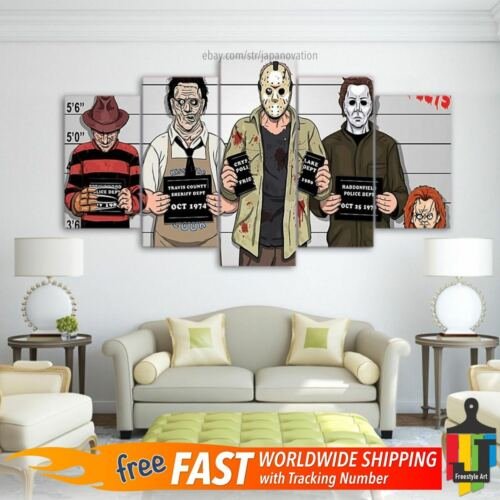 5 Panels Freddy Krueger Leatherface Michael Myers Jason Voorhees Chucky Wall Art