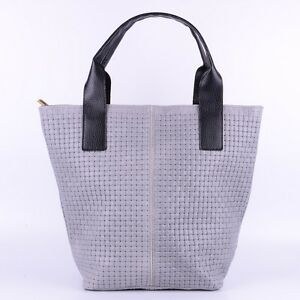 Tasche Handtasche Ital Leder Schultertasche Shopper Ledertasche Geflochten Grau
