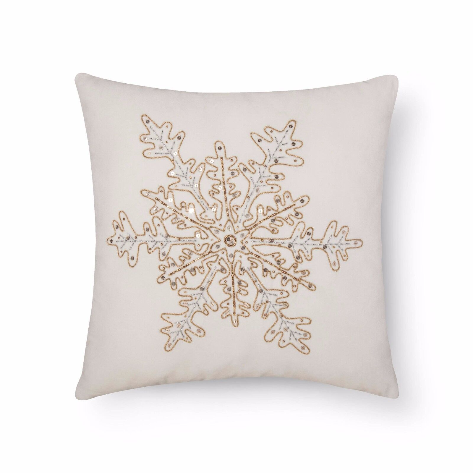 Threshold Sour Cream Beaded Snowflake Metallic Velvet Throw Pillow For Sale Online Ebay