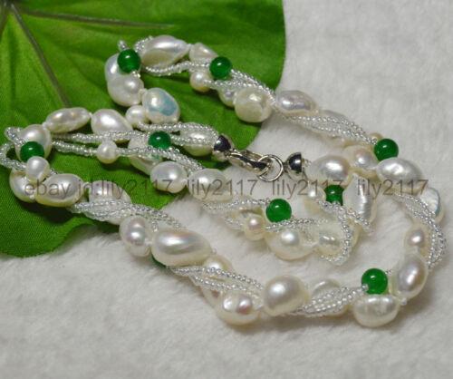 Authentique 3 rangées exquis blanc rare baroque Cultured Pearl /& Vert naturel jade