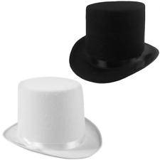 2pk Black Sleek Felt Top Hat Magician Party Hats Halloween Costume Accessory