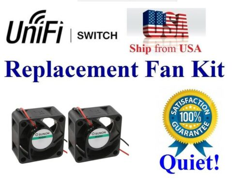 Pack of 2x new quiet version replacement fans for UniFi Switch US-16-150W PoE+