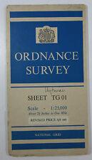 1960 old vintage OS Ordnance Survey 1:25000 First Series map TG 01 Hockering
