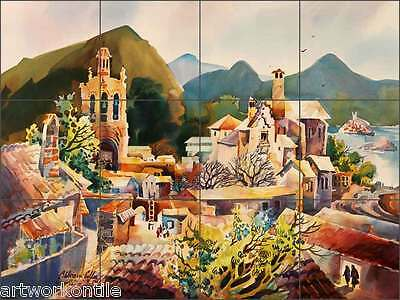 Ceramic Tile Mural Backsplash Cullar Southwest Mexican Village Art Wc117