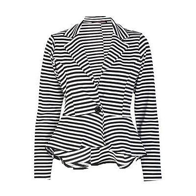 New Womens Plus Size Waist Frill Skater Blazer Peplum Jacket 36-54