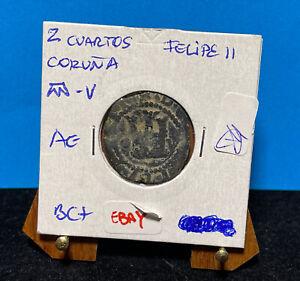 Moneta Spagna 2 Cuartos di Felipe II, La Coruña, escasa