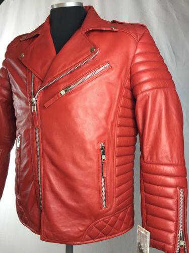 M 4x roja cordero real hombre Motocicleta para de L piel de de Xl 2x motociclista 3x 6x Chaqueta 5x aqPv0p1p