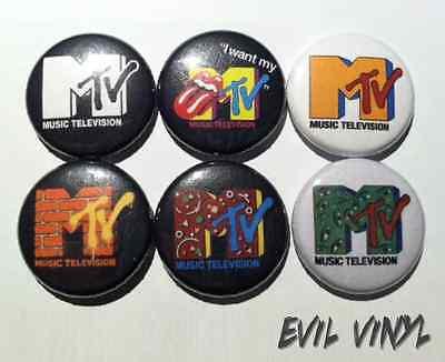 "Set of 6 MTV Buttons 1"" Vintage Retro Pin 80s 90s Music Logo Butthead Neon Art"