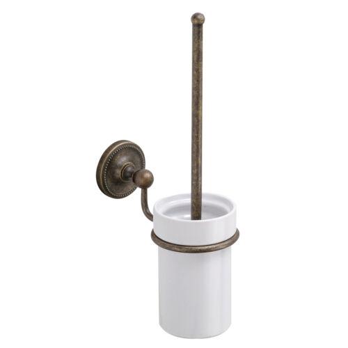 Landhaus Wand WC-Bürstengarnitur WC-Bürste alt antik Messing Keramik NEU