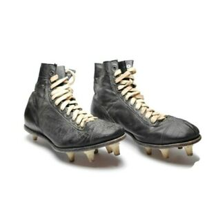 Vintage-1930-039-s-Era-Football-Rugby-Leather-Shoes-Cleats-Boots-Antique-Size-9