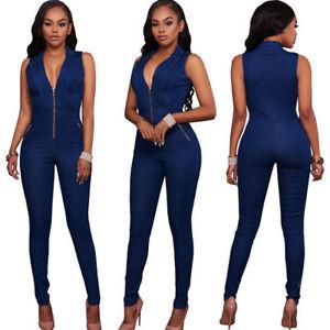 da4fb1aa515 Women s V Neck Denim Jumpsuit Jeans Romper Bodycon Overall Playsuit ...