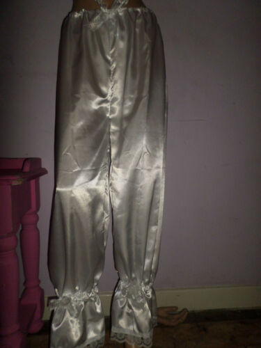 WHITE SATIN WHITE LACE LONG BLOOMERS VICTORIAN LOOK  30-46W BOWS
