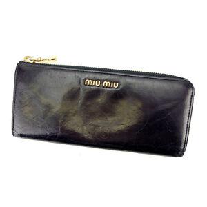 miumiu-Wallet-Purse-Long-Wallet-Logo-Black-Gold-Woman-Authentic-Used-S272