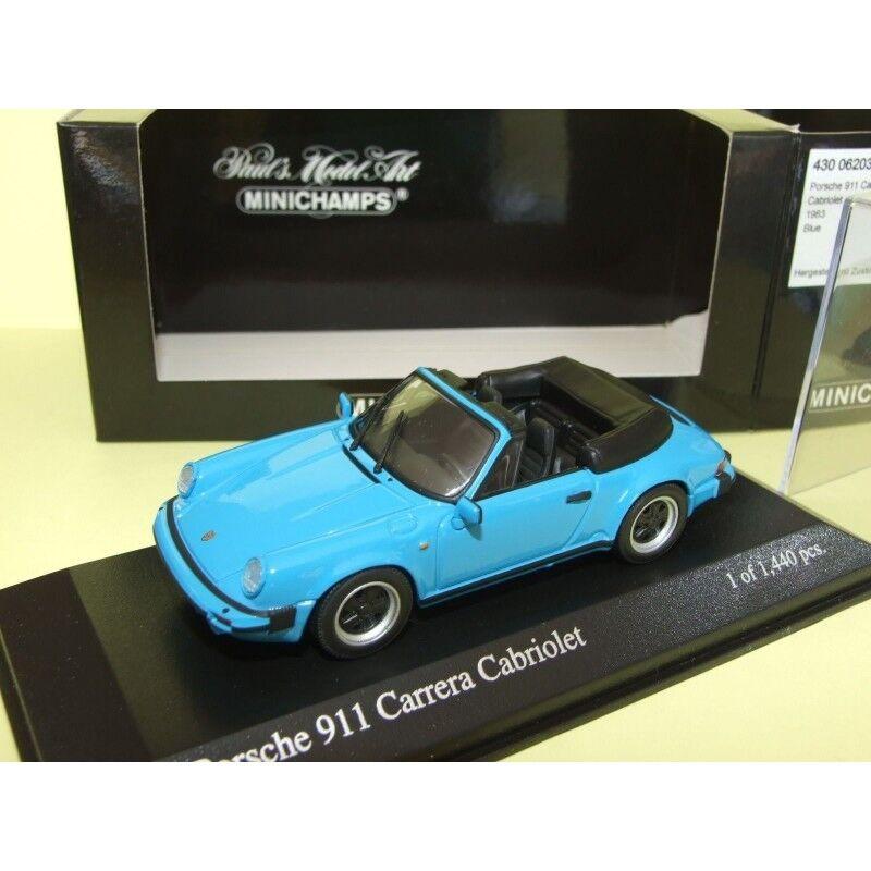 PORSCHE 911 CARRERA CABRIOLET serie G 1983 blue MINICHAMPS 1 43
